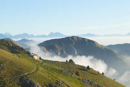 Mountain landscape. Mount Grappa panorama, Italian alps. Italy.
