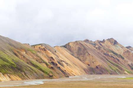 Landmannalaugar area landscape, Fjallabak Nature Reserve, Iceland. Colored mountains Archivio Fotografico - 146790866