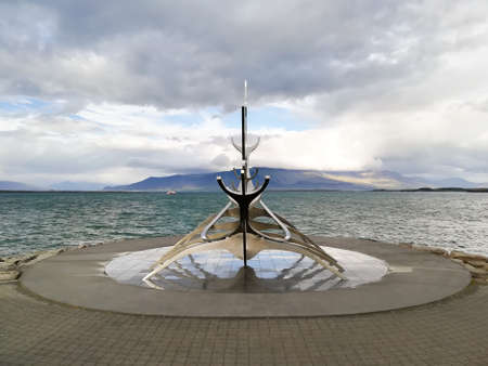 REYKJAVIK,ICELAND- AUGUST 17, 2018: Sun voyager sculpture, Solfar. Reykjavik, Iceland Archivio Fotografico - 146790869