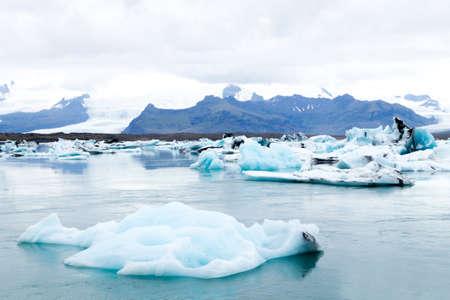 Jokulsarlon glacial lake, Iceland. Icebergs floating on water. Iceland landscape