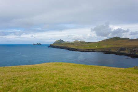 Westman Islands beach view with archipelago island in background. Iceland landscape.Vestmannaeyjar