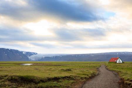 Isolated house from Hvitarvatn area, Iceland rural landscape. Icelandic scenery
