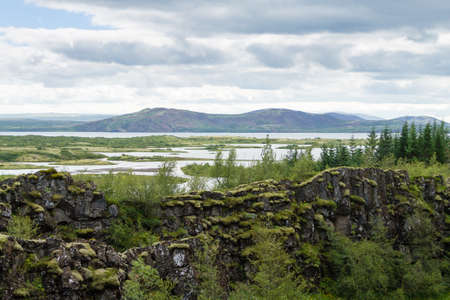 Thingvellir site, Iceland. Famous Icelandic landmark. Iceland golden circle Archivio Fotografico