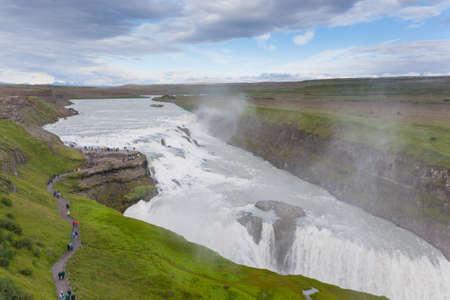 Gullfoss falls in summer season view, Iceland. Icelandic landscape.