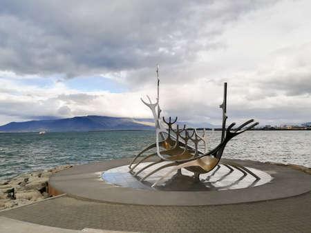 REYKJAVIK,ICELAND- AUGUST 17, 2018: Sun voyager sculpture, Solfar. Reykjavik, Iceland
