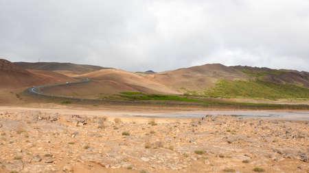 Hverir mud pools view, Iceland landmark. Icelandic landscape Archivio Fotografico