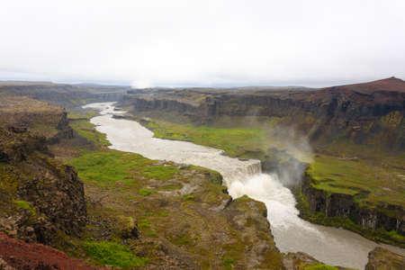 Hafragilsfoss falls in summer season view, Iceland. Icelandic landscape.