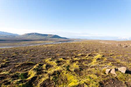 Panorama from Hvitarvatn area, Iceland rural landscape. Icelandic scenery