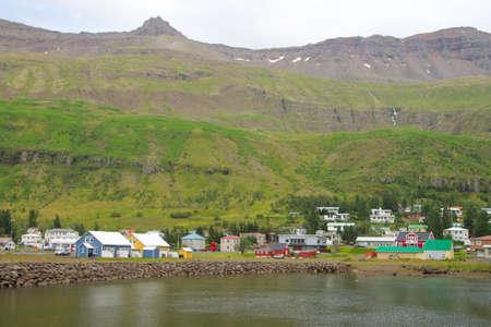 Seydisfjordur city decorated house close up, Iceland landmark. Icelandic landscape