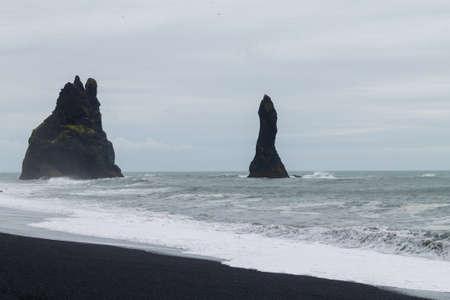 Reynisfjara lava beach view, south Iceland landscape. Vik black beach