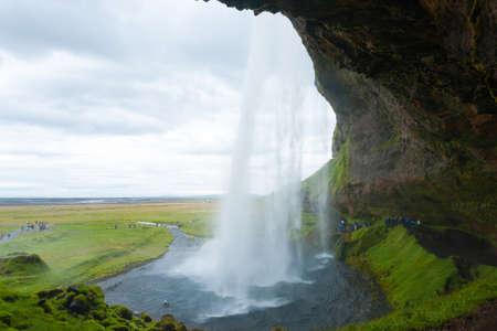 Seljalandsfoss falls in summer season view, Iceland. Icelandic landscape. Archivio Fotografico