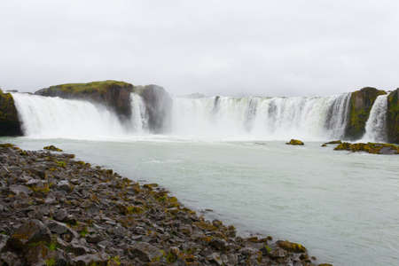 Godafoss falls in summer season view, Iceland. Icelandic landscape. Archivio Fotografico