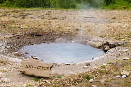 Strokkur geothermal area. Hot springs view. Geysir geyser, Iceland Archivio Fotografico