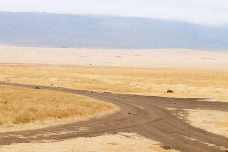Dirt road on Ngorongoro crater, Tanzania landscape. Ngorongoro Conservation Area, Africa Archivio Fotografico