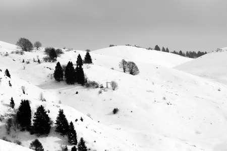 Mountain landscape in winter season. Mount Grappa landscape. Italian alps Archivio Fotografico