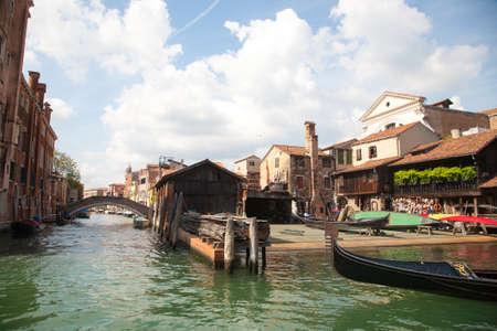 Last gondolas repairman. Venice landmark, Italy. Squero di san trovaso