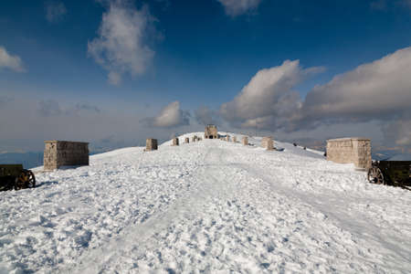 First world war memorial landmark, Italian alps, mount Grappa.