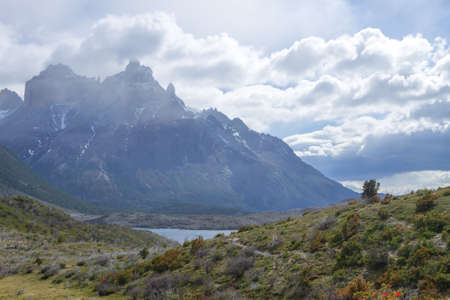 Lake Pehoe view, Torres del Paine National Park, Chile. Chilean Patagonia landscape