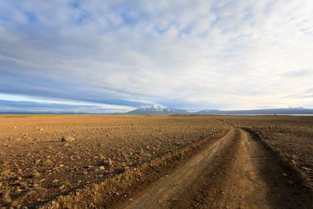 Dirt road from Hvitarvatn area, Iceland landscape. Road in perspective view.