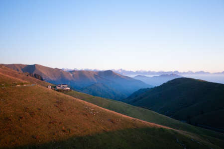 Dawn at mount Grappa. Italian alps landscape, Italy. Italian alps panorama