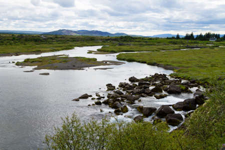 Thingvellir site, Iceland. Famous Icelandic landmark. Iceland golden circle 免版税图像