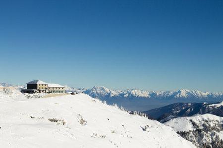 Mountain winter landscape. Mount Grappa with snow. Italian Alps