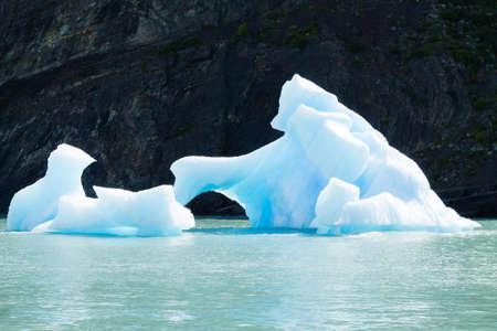 Icebergs floating on Argentino lake, Patagonia landscape, Argentina. Lago Argentino
