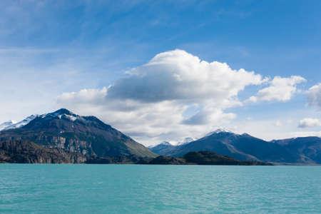 Navigation on Argentino lake, Patagonia landscape, Argentina. Patagonian panorama