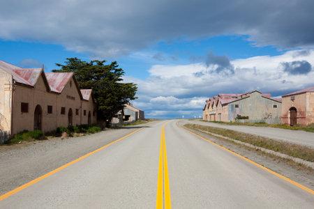 San Gregorio townscape, Punta Delgada, Chile landmark. Estancia San Gregorio. Abandoned buildings