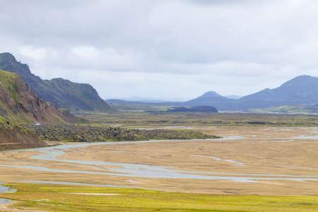 Skogafoss falls in summer season view, Iceland. Icelandic landscape.