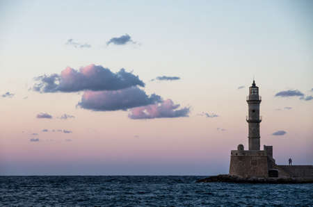 lovers kissing: Two lovers kissing under the Chania