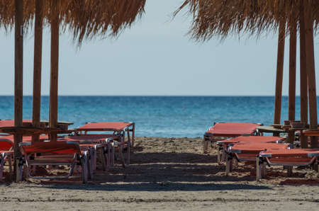 Relax under the umbrellas of Elafonisi Beach, Crete island photo
