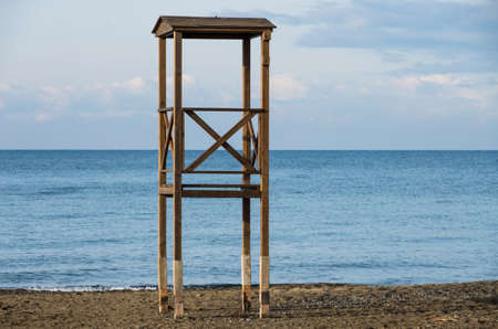 lifeguard tower: Solitary lifeguard tower during winter on the tuscany coast