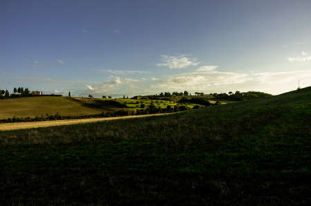 agriturismo: Fields lightened by te sunset in tuscany countryside Editorial