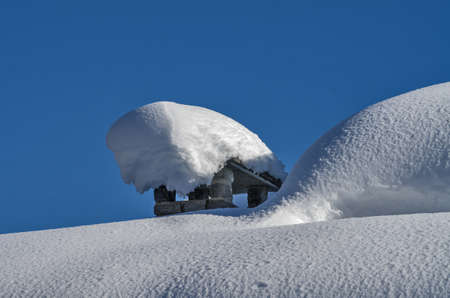 casement: Traditional flue quite completely covered by the snow