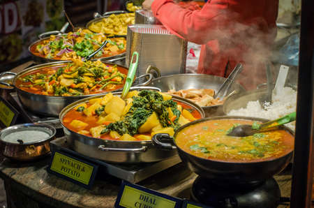 Some spicy dishes of traditional street food in Camden market Stock Photo