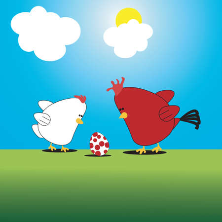 Chicken cartoon funny illustration with chicken, rooster and egg illustration