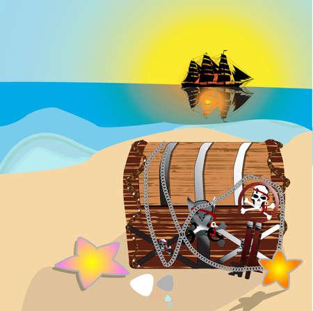 booty pirate: Pirates treasure chest Stock Photo