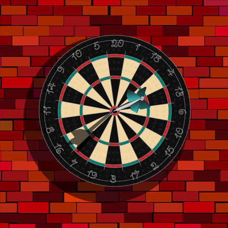 dart board: Realistic dart board on a brick wall, graphic art Stock Photo