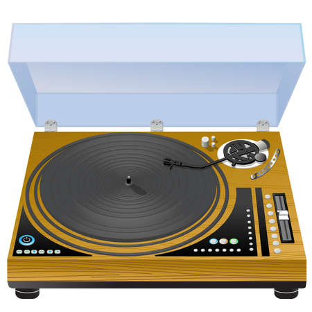 Vinyl turntable, realistic wooden case turntable on white background photo