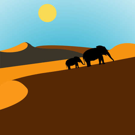 Illustration of elephants walking through the desert at sunrise illustration