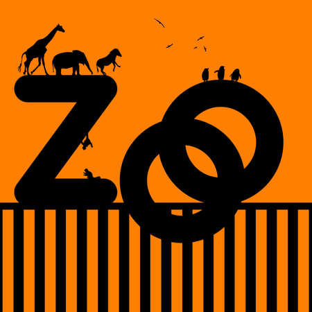 Zoo Illustration with Animal on an orange background illustration