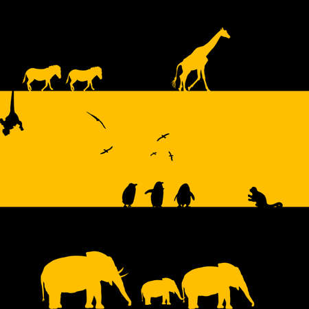 African Animals Illustration in black and yellow illustration