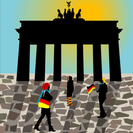 abbildung: Brandenburger Gate with Pedestrians and German Flag Colors Stock Photo