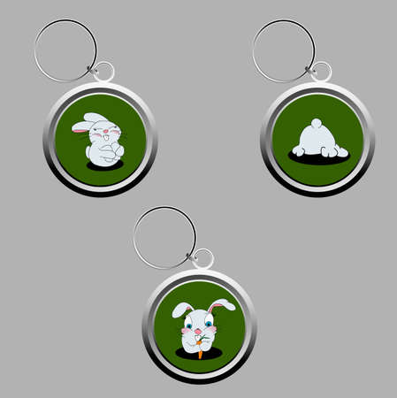 keychains: Cute bunny key-chains in a set of three Stock Photo