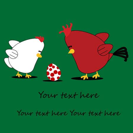 chicken egg: Chicken cartoon card with text underneath