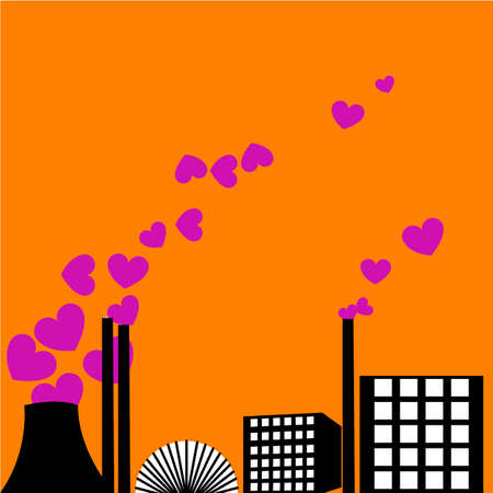 Illustration of a love factory with hearts coming out of the chimney instead of smoke illustration