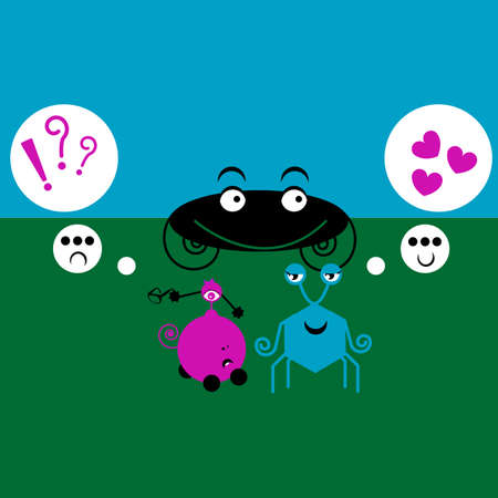 Monster Love Cartoon on green and blue Stock Photo - 12248942