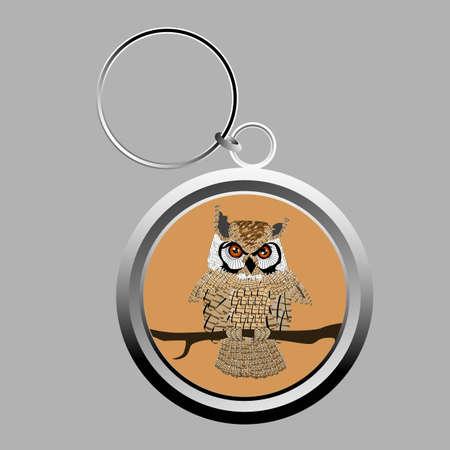 Cute owl key-chain on grey photo