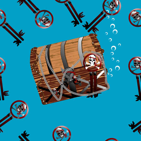 sunk: Pirate chest underwater seamless illustration with bubbles and keys Stock Photo